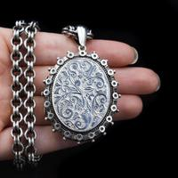 Antique Aesthetic Large Sterling Silver Locket with Belcher Chain Collar (11 of 11)