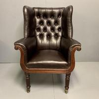 Large Regency buttoned leather wing armchair (11 of 11)
