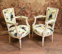Pair of Painted Arm Chairs Regency Toucan Print Interiors (2 of 5)