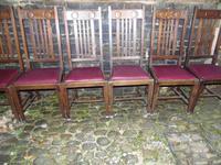 Six Oak Arts & Crafts Dining Chairs