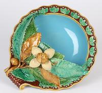 Minton Majolica Pottery Pedestal Chestnut Dish Dated 1867 (2 of 14)