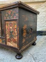 Large 19thc Swedish Country House Robust Painted Pine Storage Coffer Chest (9 of 18)