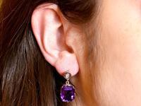 13.68ct Amethyst, 0.04ct Diamond & 18ct White Gold Drop Earrings - Vintage c.1940 (9 of 9)