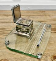 Art Deco Glass and Brass Desk Inkwell with Pen Rest (3 of 8)