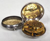 Antique Silver Pair of Case Pocket Watch Fusee Verge Escapement Key Wind Enamel Dial Thomas Cooker Oakham (7 of 12)