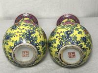 Pair of Chinese Imperial Style Yellow Ground Porcelain Chrysanthemum Lotus Vases (18 of 28)