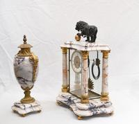 Antique Mantle Clock Set Garniture French Empire Urns (25 of 27)