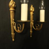French Pair of Single Gilded Flame Antique Wall Lights (2 of 10)