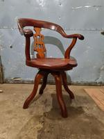Antique Chinese Cherry Wood Swivel Captains Desk Chair (4 of 10)