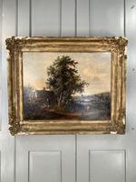 Antique Victorian Landscape Oil Painting of Inn with Figures (2 of 10)