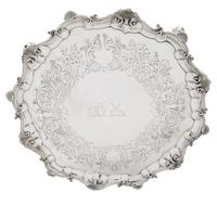 """Antique Victorian Sterling Silver 13"""" Tray / Salver 1850 (9 of 9)"""