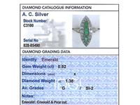 0.92ct Emerald & 1.38ct Diamond, 15ct Yellow Gold Marquise Ring - Antique c.1910 (6 of 9)