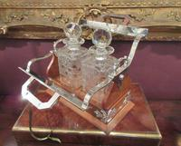 Unusual Victorian Antique Silvered Split Opening Tantalus (5 of 8)