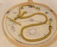 Vintage Pocket Watch Chain 1950s 14ct Rolled Gold Double Albert With Sliding T Bar (3 of 11)
