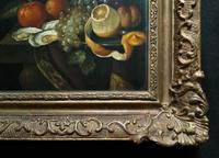 Fine Original 19thc Antique Spanish Fruit Wine & Oyster Still Life Oil Painting (5 of 13)