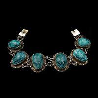 Art Deco Blue Porcelain Scarab Beetle Silver Full Set Suite - Necklace Earrings Bracelet (2 of 10)