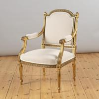 Pair of Large 19th Century Louis XV1 Style French Gilt Armchairs (10 of 10)
