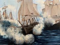 Large Fabulous Vintage 20th Century Maritime Naval Battle Ships Seascape Oil Painting (5 of 12)