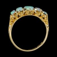 Antique Edwardian Opal Five Stone Ring 18ct Gold Dated 1908 (4 of 6)