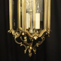 French Gilded Triple Light Antique Hall Lantern (8 of 10)