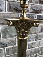 English Brass Corinthian Column Standard Lamp (6 of 8)