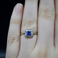 Art Deco Blue Spinel and Clear Spinel 9ct Gold Square Cluster Ring (6 of 9)