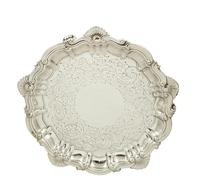 """Antique Victorian Sterling Silver 6"""" Card Tray 1891 (9 of 9)"""