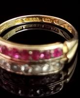 Antique Victorian Ruby, Diamond and Pearl Ring, Double Row, 15ct Gold (10 of 12)