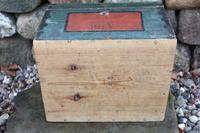 Scandinavian / Swedish 'Folk Art' Small blue-black orginal paint, Hälsingland table chest box 1814 (22 of 25)