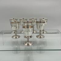 Modern Sterling Silver Suite Eight Wine Goblets Birmingham 1973 Barker Ellis Silver & Co (2 of 8)