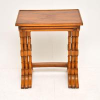 Antique Georgian Style Yew Wood Nest of Tables (3 of 7)