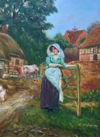 Wonderful Original Signed Vintage Oil Painting - Pretty Milkmaid in Farmyard (3 of 12)