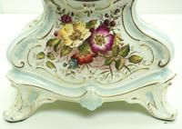 Antique 8 Day Porcelain Mantel Clock Sevres Egg Shell Blue Floral French Mantle Clock (5 of 12)