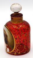 Exceptional Bohemian Glass Scent Bottle with Peasant Girl Head c.1865 (2 of 5)