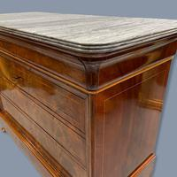 Exceptional French Marble Top Mahogany Inlaid Commode (9 of 12)