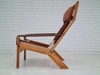Scandinavian armchair, adjustable back, cowhide, 70s (18 of 20)