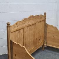 Large Old Pine Sleigh Bed (4 of 5)