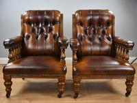 Pair of Victorian Hand Dyed Leather Library Chairs (12 of 13)