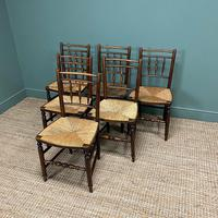 Set of Six Georgian Elm Country House Antique Dining Chairs (5 of 11)