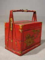 Attractive Early 20th Century Red Lacquer Picnic Basket (2 of 5)