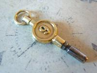 Antique Pocket Watch Chain Fob 1890s Victorian Brass Key Size 9 (4 of 10)