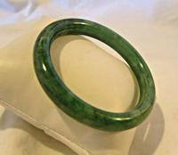 "Vintage Jade Bangle 1970s Spinach Green Bracelet 7"" Length Heavy 42.9 Grams (3 of 5)"