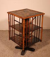 English Revolving Bookcase Early 20th Century in Bamboo & Asian Decor (10 of 10)