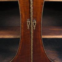 Antique Display Bookcase, English, Walnut, Boxwood, Empire, Cabinet, Regency (10 of 12)