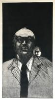Original etching 'Untitled' by Alireza Espahbod 1951-2007 Signed and dated 77. Numbered V/Vl (2 of 2)