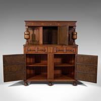 Antique Carved Court Cabinet, English, Oak, Sideboard, Jacobean Revival c.1910 (3 of 12)