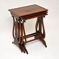 Antique Regency Style Yew Wood Nest of Tables (2 of 8)