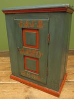 Antique Painted Swedish Cupboard with Vintage Saucy Lady Photos to the Interior (11 of 17)