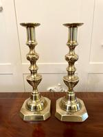 Large Pair of Antique Victorian Brass Candlesticks