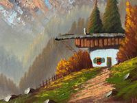 The Three Peaks 20thc Vintage Swiss School - Mountainous Landscape Oil Painting (9 of 12)